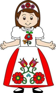 Fun children's crafts, including printable craft templates, for preschool, kindergarten and elementary school kids studying the country of Hungary. Cultural Crafts, Folk Art Flowers, World Thinking Day, Hungarian Embroidery, Printable Crafts, Chain Stitch, Paper Dolls, Embroidery Patterns, Coloring Pages