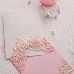 Elegante Rosa Invitaciones de Boda Tarjetas Invitaciones de Boda de Oro En Relieve Diseño de la Flora para Despedida de Soltera Envío Impresión CW6072