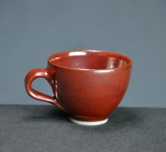 Iron Red Ceramic Teacup Set Hand Thrown by CaldwellPottery on Etsy
