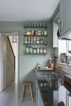 Hello English style kitchen in all your sage green goodness. And hello to you too sunny dining ...