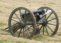 This is a picture of a Howizter cannon that was used in the civil war.  A howitzer is a type of artillery piece characterized by a relatively short barrel and the use of comparatively small propellant charges to propel projectiles at relatively high trajectories, with a steep angle of descent.