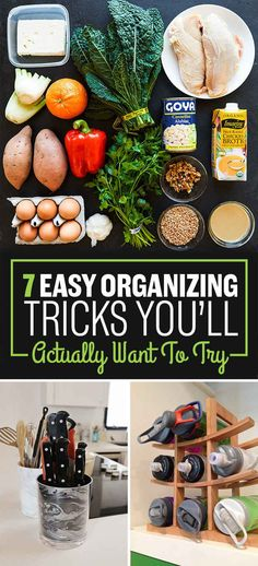 "7 Easy #Organizing #Tricks You'll Actually Want To Try. For me, the first one make me think like ""why i never think about this before!? "" The remain lists also worth trying."