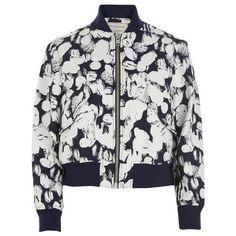 Maison Kitsune Women's Koi Jacquard Bomber Jacket - Ecru/Navy ($310) ❤ liked on Polyvore featuring outerwear, jackets, navy blue jacket, white bomber jacket, cropped jacket, navy blue bomber jacket and white zip jacket