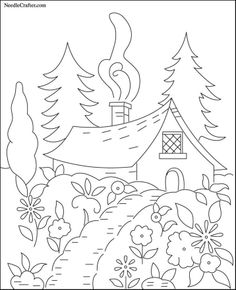 Free Hand Embroidery Pattern: Cottage in the Woods-(842x1037 pixels)