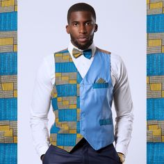 Get an absolute elegant look with these fit cotton blue kente fabric on the left cotton blue fabric on the rightPocket on the top rightFaux pocket on the bottom rightOur model wear a size M*** Matching Bow Tie and Square poc. African Fashion Designers, African Print Fashion, Africa Fashion, African Print Shirt, African Shirts, Waistcoat Men, Workout Vest, Suit Vest, Fitted Suit