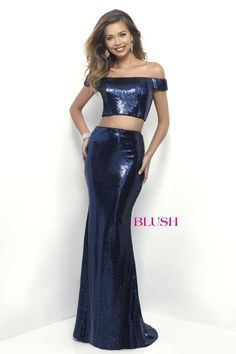 Blush Prom 11296 Navy Two-Piece Prom Dress. Available in sz. 8 at Debra's Bridal Shop. Visit us at 9365 Philips Hwy., Jacksonville, Fl. 32256
