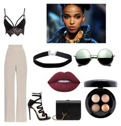 """""""Fka Twigs inspired"""" by awksilence on Polyvore featuring Club L, MaxMara, Jimmy Choo, Mulberry, Lime Crime, Revo, MAC Cosmetics, Miss Selfridge, Inspired and iconic"""