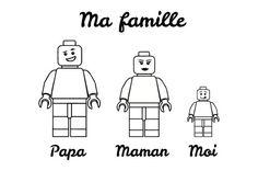 Fichier numérique à imprimer, pour coloriage - moins de 6 ans. Illustration portrait de famille légo type. Cest un portait de famille moderne qui
