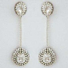 Erin Cole bridal jewelry. Long dangling crystal teardrop earrings reflect Erin's unique style in creating fabulous designer bridal earrings.