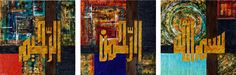 Art by Salva Rasool - Bismillah Hir Rahman Nir Rahim (Triptych). Mixed media on canvas.
