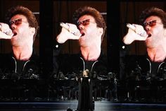 An image of the late George Michael is projected on a video screen while recording artist Adele (Photo by Kevin Winter/Getty Images for NARAS)