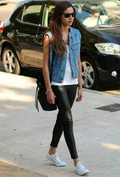 Denim vest, white white, faux leggings, white sneakers