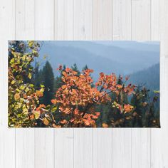 Scenic Fall Leaves Throw Rug