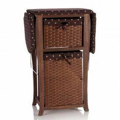 Mueble plancha madera blanco con armario y 1 cesta mimbre for Mueble plancha plegable