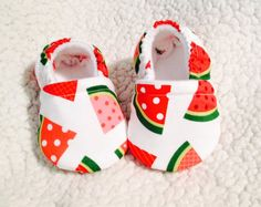 Baby booties watermelon slices print ( print varies), Crib shoes, Baby Gift