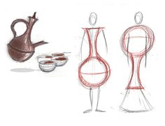 ZEEZEEYOU fashion project – Preliminary sketch for a cloth inspired by the essential shape of the traditional Ethiopian Coffee Pot