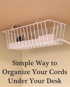 organizing cords under your desk