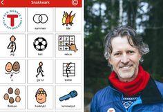 Bilde av app-utvikleren og av hvordan et snakkeark ser ut.