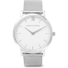 Larsson & Jennings Lugano silver-plated watch (940 BRL) ❤ liked on Polyvore featuring jewelry, watches, acessorios, a watches, bracelets, roman numeral jewelry, silver plated jewelry, white jewelry, water resistant watches and white wrist watch
