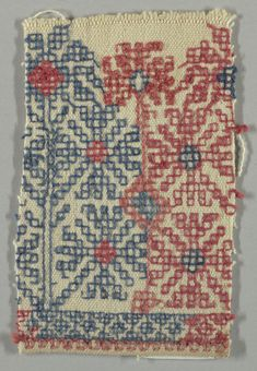 Design of four stylized flowers arranged around a central block, worked in red and blue on a white ground. Embroidery Stitches, Hand Embroidery, Textiles, Greek Art, Costume, Star Patterns, Historical Clothing, Needlepoint, 19th Century