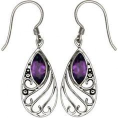 Marquise Drop Amethyst Earrings