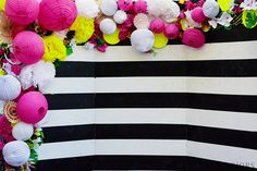 Check out how to make this preppy pineapply party photo backdrop! Black and White stripes, fuschia, neon, yellow, pink, purple, photo booth, Pineapple party