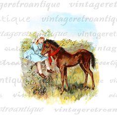 Digital Graphic Girl with Young Horse or Colt Printable Color Illustration Image Download Vintage Clip Art 18x18 HQ 300dpi No.1968 @ vintageretroantique.etsy.com #DigitalArt #Printable #Art #VintageRetroAntique #Digital #Clipart #Download