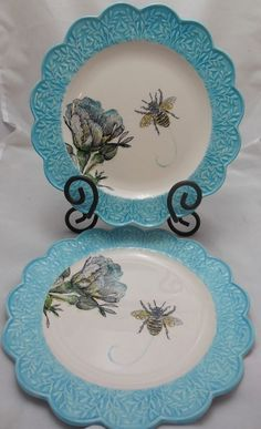 Edie Rose by Rachel Bilson Bloom Collection Salad Plates Bee Scalloped Edge EUC #EdieRose