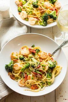 Lighter Pasta Primavera with Shrimp, Broccoli, Sun-dried Tomatoes & Peas