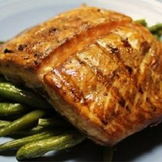 pinner said Grilled Salmon I Recipe - A simple soy sauce and brown sugar marinade, with hints of lemon and garlic, are the perfect salty-sweet complement to rich salmon fillets. Even my 9 year old loves this recipe! Salmon Recipes, Fish Recipes, Seafood Recipes, Great Recipes, Cooking Recipes, Favorite Recipes, Healthy Recipes, Cooking Tips, Cooking Chef