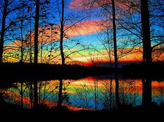 Silhouette-Trees Against Colorful Sky