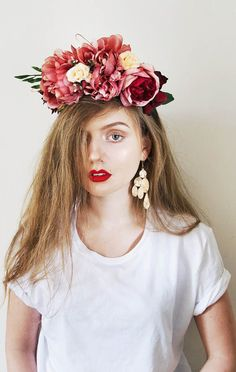 Red Peony flower crown Peony headband Peony crown Bridal flower crown Pink Peony wedding Bridal wreath bright Flower headband Bridal flower