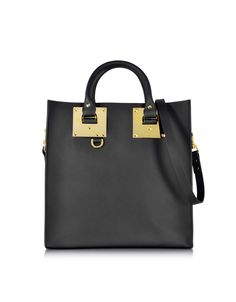 0ff05d83c6 Sophie Hulme Black Large Leather Square Tote at FORZIERI Sophie Hulme