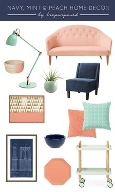 Navy, Mint and Peach Home Decor - Spring Palette - brepurposed - Interior Decor Peach Living Rooms, Peach Rooms, Peach Bedroom, My Living Room, Living Room Decor, Bedroom Decor, Mint Bedrooms, Home Decor Colors, Room Colors