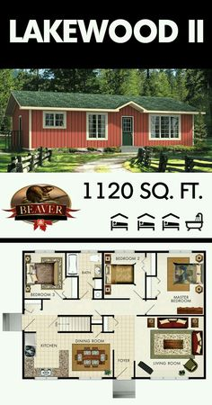 Downsize the middle bedroom to be an office, make the current bath an en suit for the master and add a half guest bath right next to it. Designed for a simple living, the Lakewood II may be compact but it's very efficient and includes plenty of space. Small House Floor Plans, Cottage Floor Plans, Cottage Plan, Dream House Plans, Small House Plans Under 1000 Sq Ft, Cottage Living, Small House Layout, House Layouts, Cottage Design