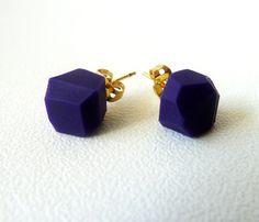 Purple rock earrings