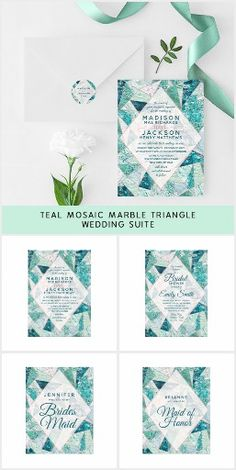 Teal Mosaic Marble Beach Wedding Suite. Teal Mosaic Marble Triangles with Rose Gold trim, and geometric pattern. perfect for a beach destination or summer wedding. #ad