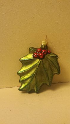 """Blown Glass Festive Holly Leaf Glass Christmas Ornament- 2"""" made in Poland by ukbeadsonline on Etsy"""