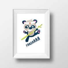 Pandaaa affiche panda Ninja : une affiche noire et blanche au design minimaliste pour tous les petits héros !  Panda bear poster : for all little Ninja  Idéale pour une decoration de chambre d'enfants en noir et blanc - black and white kids room