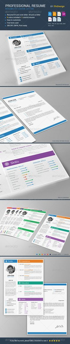 Resume \ Cover Letter Template v9 Resume cover letter template - professional resume fonts