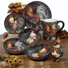 Square Dinnerware Set, Dinnerware Sets, China Dinnerware, Rooster Plates, Rooster Kitchen Decor, French Cottage, Dessert Bowls, Farm Yard, Fine Porcelain