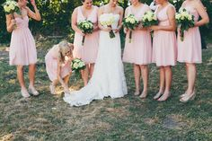 Hydrangeas and pink bridesmaids make a perfect pair! Dresses by Donna Morgan.