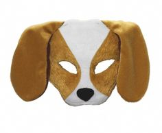 Half Face Plush Puppy Animal Mask - Every child wanted to be your pet dog at one point, why not add it to the tickle trunk. This mask is held on the face via a headband. It is shaped with plastic and covered in a soft felt like material. The dog mask has long floppy ears, two holes for the eyes and a black felt nose. Great for fun times, a twist on a masquerade and the theatre. #yyc #costume #animal #mask