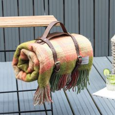 Green And Pink Check Wool Picnic Blanket Leather Straps Picnic Blanket, Outdoor Blanket, Luxury Home Decor, Home Accessories, Picture Frames, Pattern Design, Outdoor Living, Pure Products, Traditional