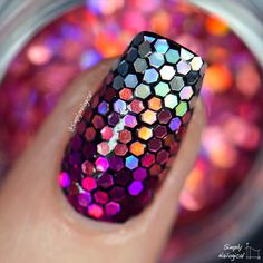 Pink holo glitter placement glitters so tiny tho by simplynailogical nai Pretty Nail Colors, Pretty Nail Designs, Diy Nail Designs, Pretty Nail Art, Acrylic Nail Designs, Acrylic Nails, Nail Design Video, Pink Nail Art, Fancy Nails