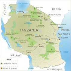 Map of Tanzania, Africa.