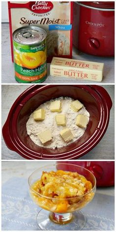 Make peach cobbler in the slow cooker with just three ingredients! A box cake mix and butter form a buttery crust on top of canned peaches for an easy delicious desert that's ready in just a few hours.