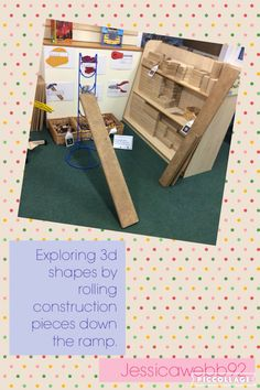 Exploring 3d shapes by rolling construction pieces down the ramp. EYFS