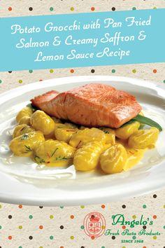 Quick 'n' Easy Potato Gnocchi with Pan Fried Salmon and Creamy Saffron and Lemon Sauce Recipe
