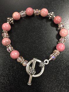 Rhondcrosite and Pink Crystal Toggle Bracelet Measures 7-1/4